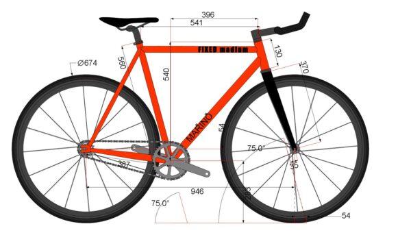 Marino Bike Fixie M - Fixed Bike Chromoly Frame